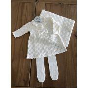 Saída de Maternidade Tricot Vestido Folhas Off White