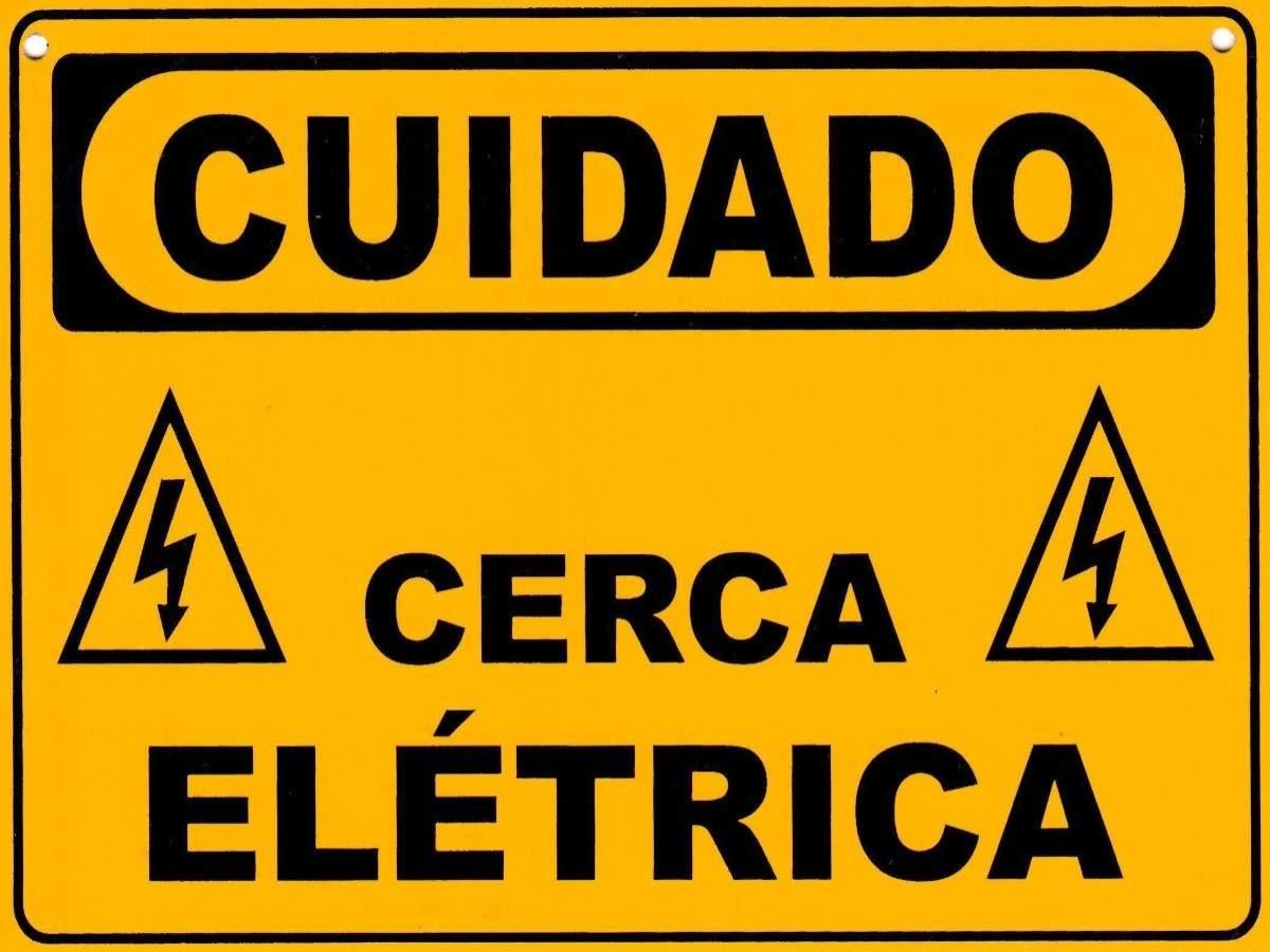 5 Placa Advertência Perigo Cuidado Cerca Elétrica Alumínio  - Ambientude Agro e Pet