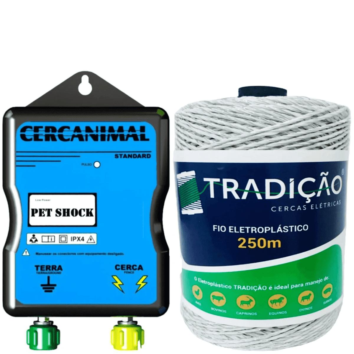 Eletrificador Cerca Elétrica Cães Pet Shock + 250 Metros Fio  - Ambientude Agro e Pet