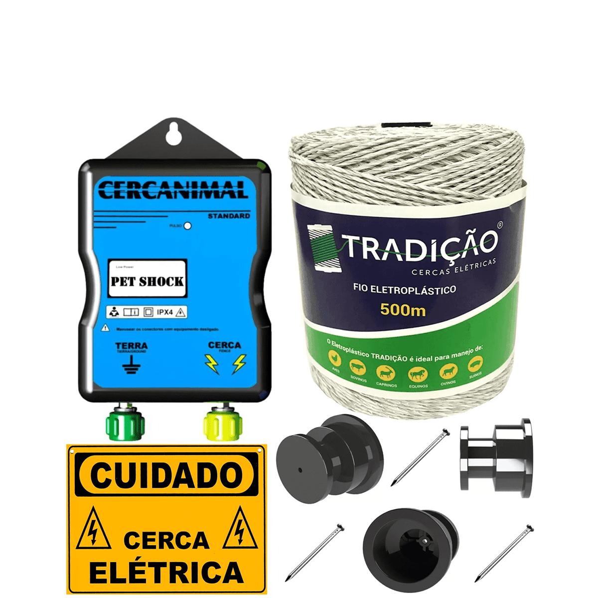 Eletrificador Cerca Elétrica Para Cães Petshok Kit 1000 M  - Ambientude Agro e Pet