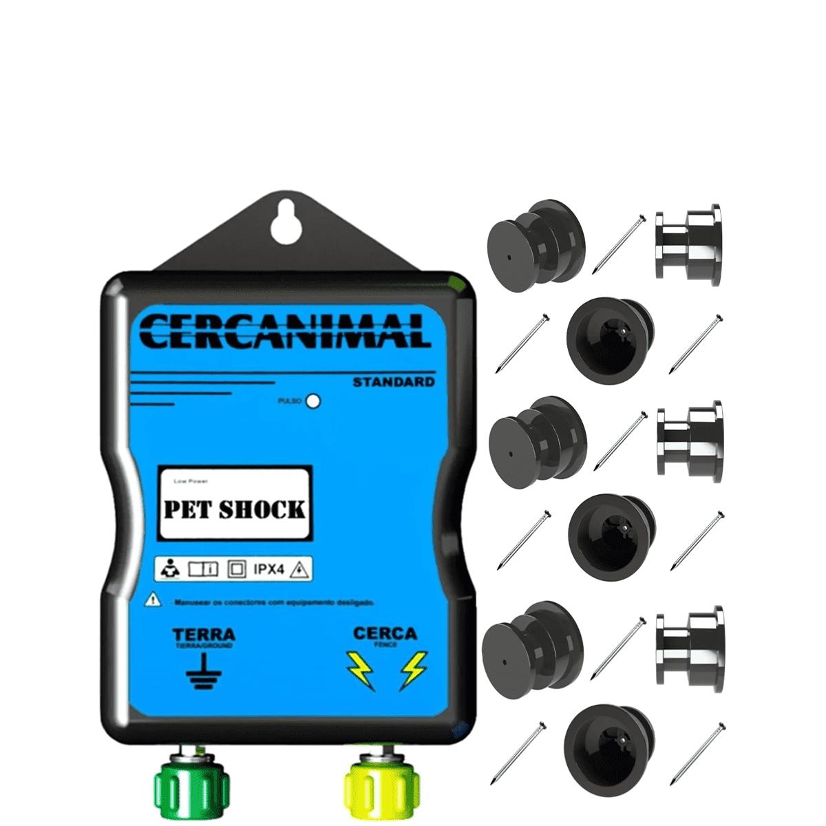Eletrificador Pet Shock Cerca Eletrica + 100 Roldanas  - Ambientude Agro e Pet