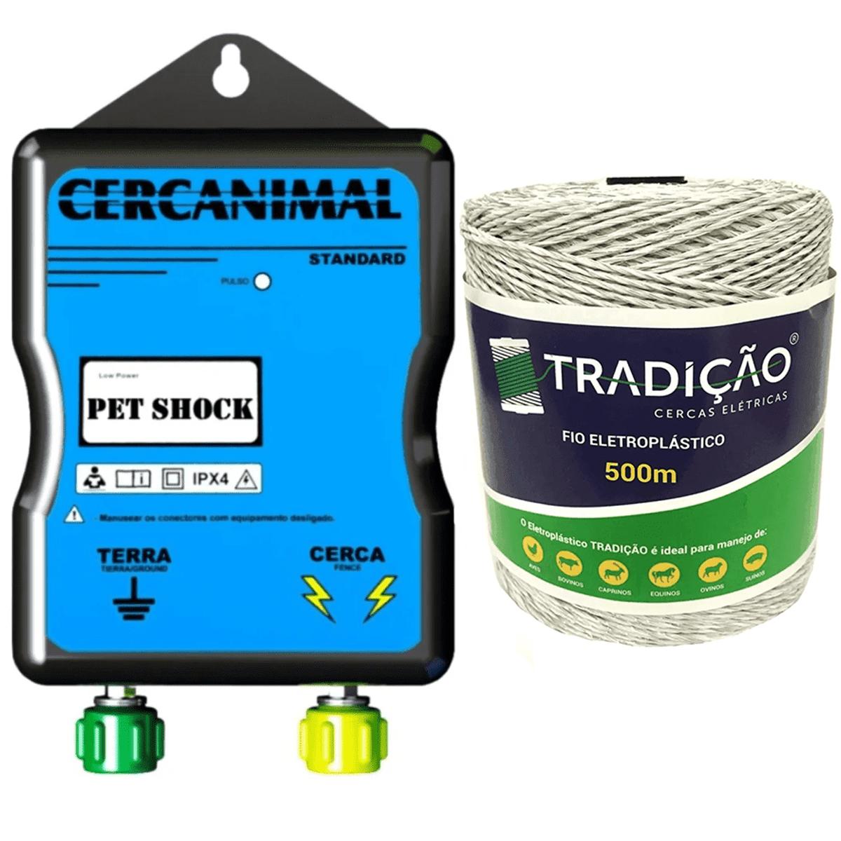 Eletrificador Pet Shock Cerca Eletrica Para Pequenos Animais + 500 Metros de Fio  - Ambientude Agro e Pet