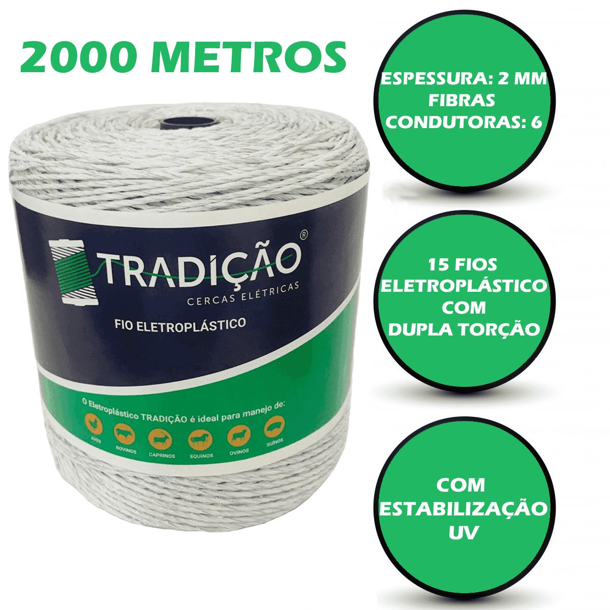 Fio Para Cerca Elétrica Rural Industrial Residencial Eletroplastico - 2000 Metros  - Ambientude Agro e Pet