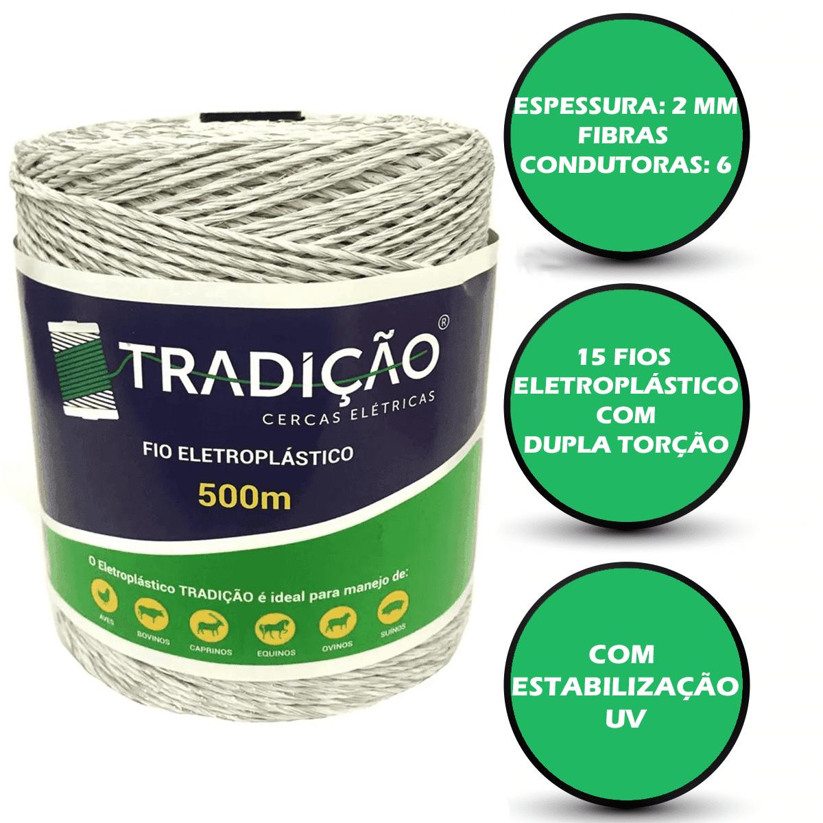 Fio Para Cerca Elétrica Rural Industrial Residencial Eletroplastico - 500 Metros   - Ambientude Agro e Pet