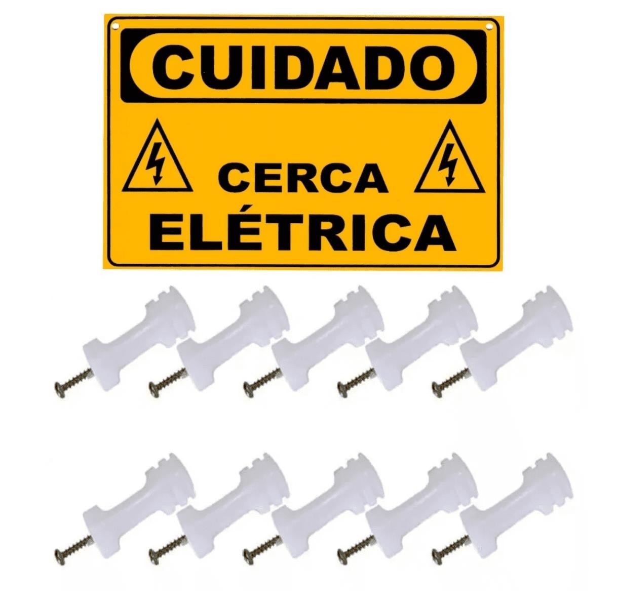 Isolador Branco Haste Cerca Elétrica + Brinde Placa Cuidado  - Ambientude Agro e Pet