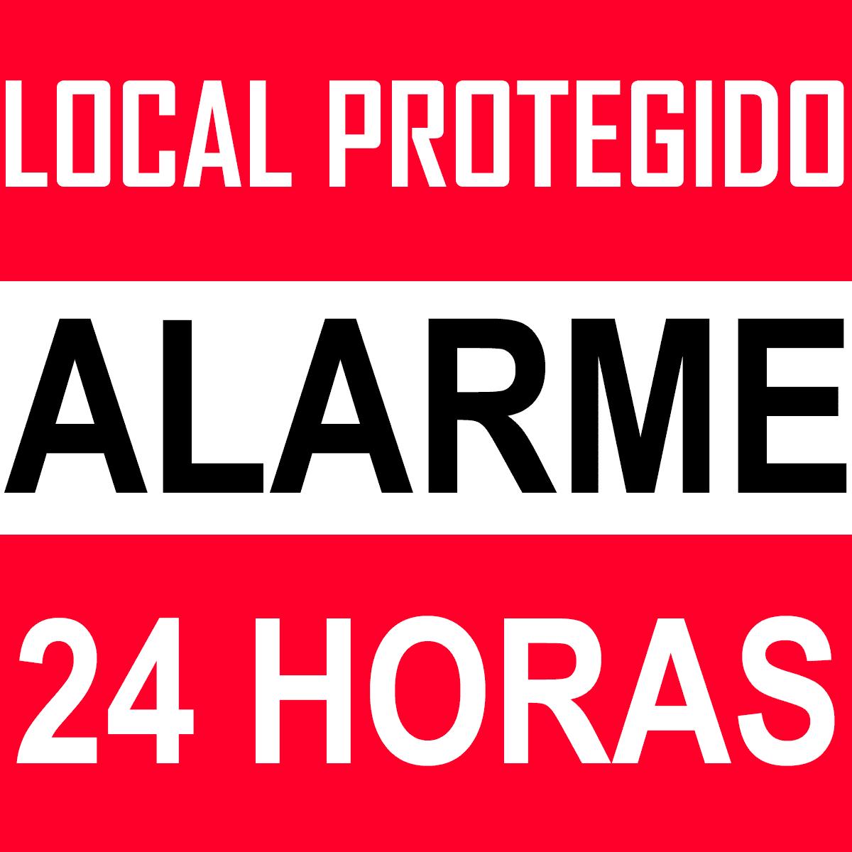 Kit 5 Placas Sinalização Local Protegido Alarme 24 Horas  - Ambientude Agro e Pet