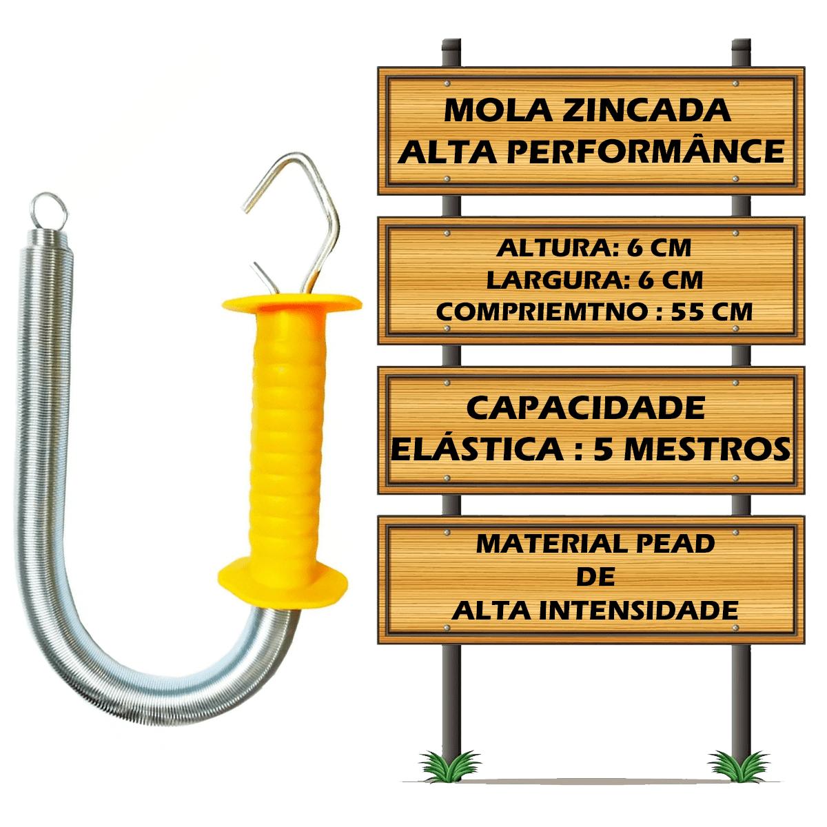 Porteira Para Cerca Elétrica - Mola Longa 6 Metros - C/10 Un  - Ambientude Agro e Pet