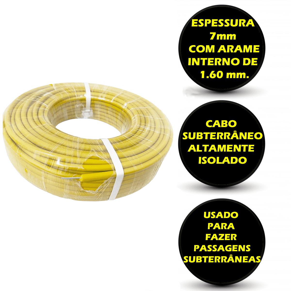 Super Reforçado Cabo Subterrâneo Amarelo Cerca Elétrica Rural - 150 M  - Ambientude Agro e Pet