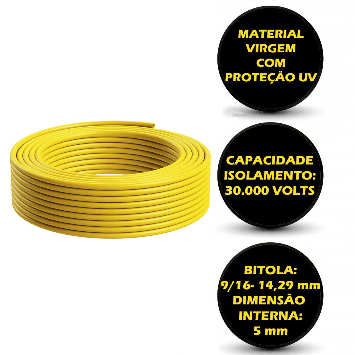 Tubo Isolador Cerca Elétrica 9/16 Amarelo - 100m   - Ambientude Agro e Pet