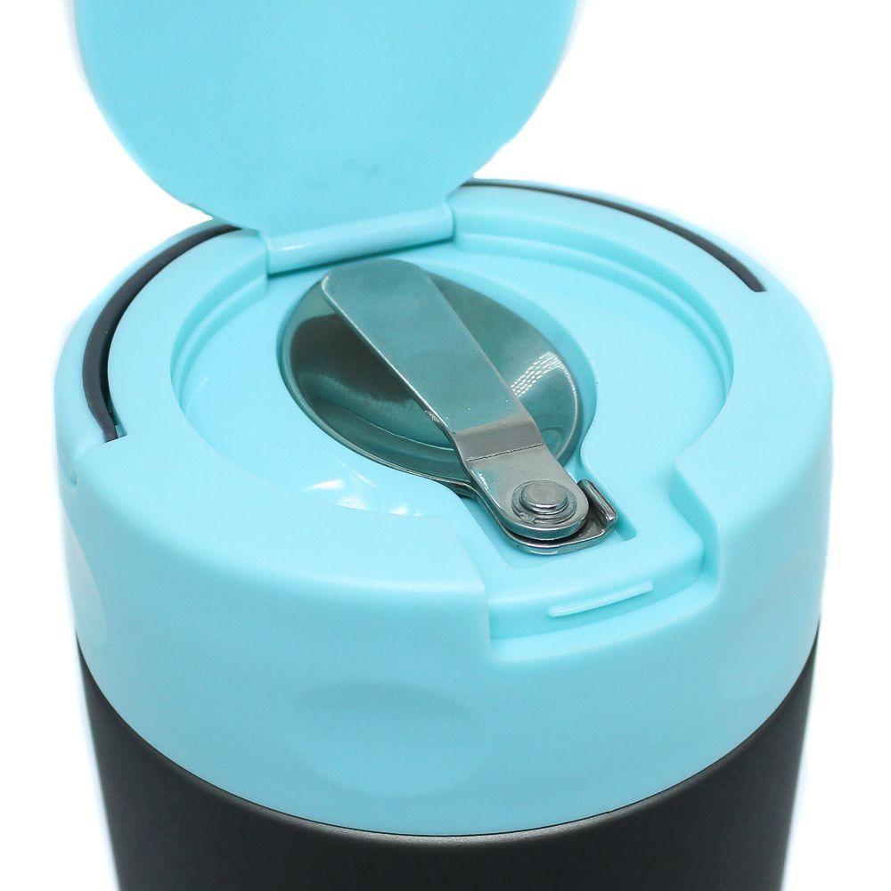Pote Térmico Pacco Food Jar c/ Colher Cinza e Turquesa 500ml