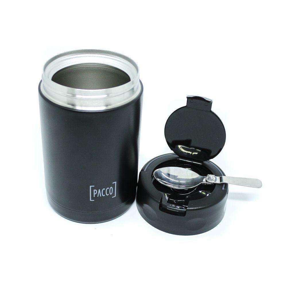 Pote Térmico Pacco Food Jar c/ Colher Preto 500ml