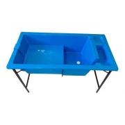 Banheira Grande c/ Degrau e Porta Shampoo Azul