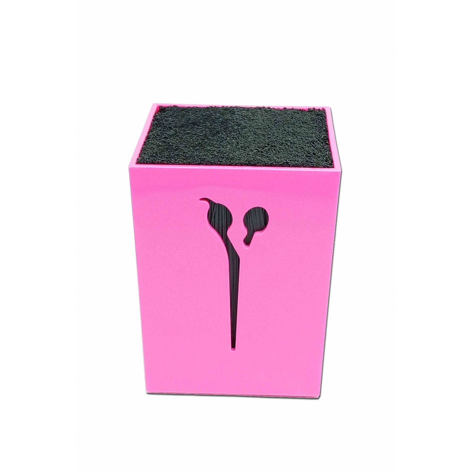 Porta Tesoura de Mesa Quadrado Rosa