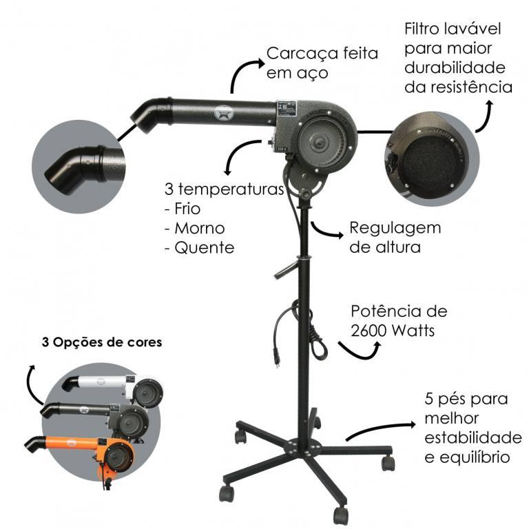 Secador Super Hard Wind Preto - 110 Volts