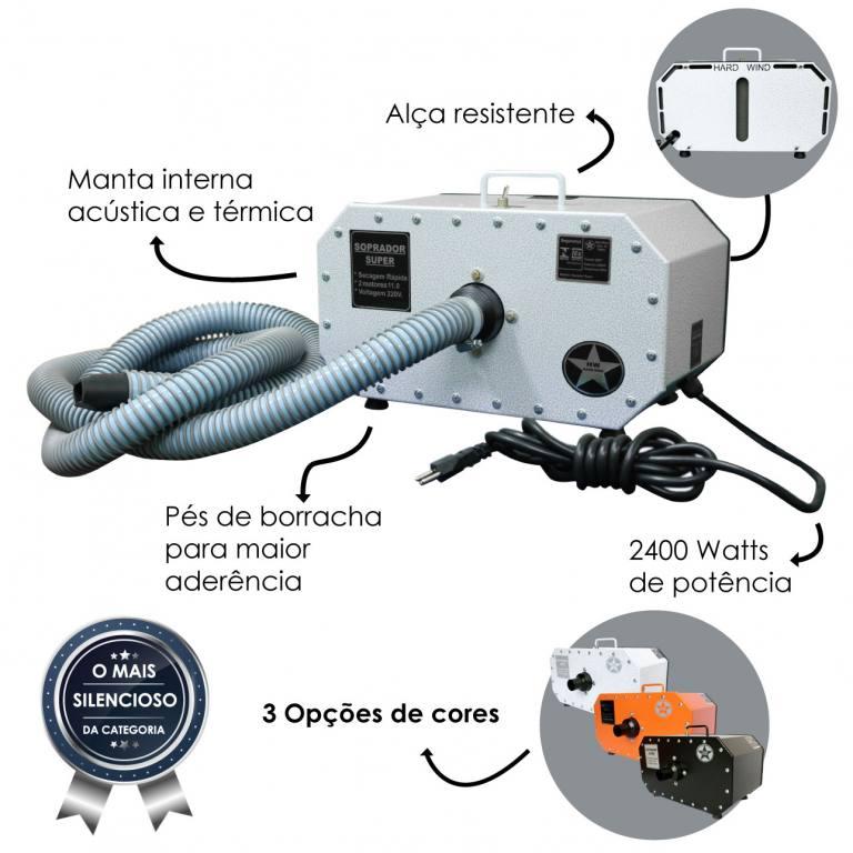 Soprador 2 Motores Branco Silencioso Hard Wind 110 Volts