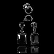 01 Kit  Anel e Brinco Cristal Negro com Zircônias