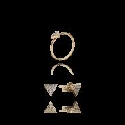 01 Kit  Anel e Brinco Dourado Pirâmide com Zircônias