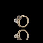 Anel Dourado Dupla Esfera Pérola e Zircônias