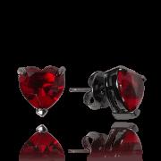 Brinco Coração Cristal Turmalina Vermelho
