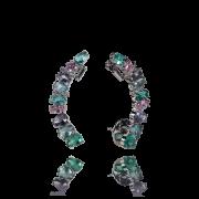 Brinco Ear Cuff Gota Cristais Fusion Colorido