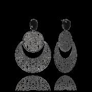 Brinco Maxi Boho com Cristal Negro