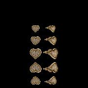 Brincos Mix Três Corações Dourados com Zircônias
