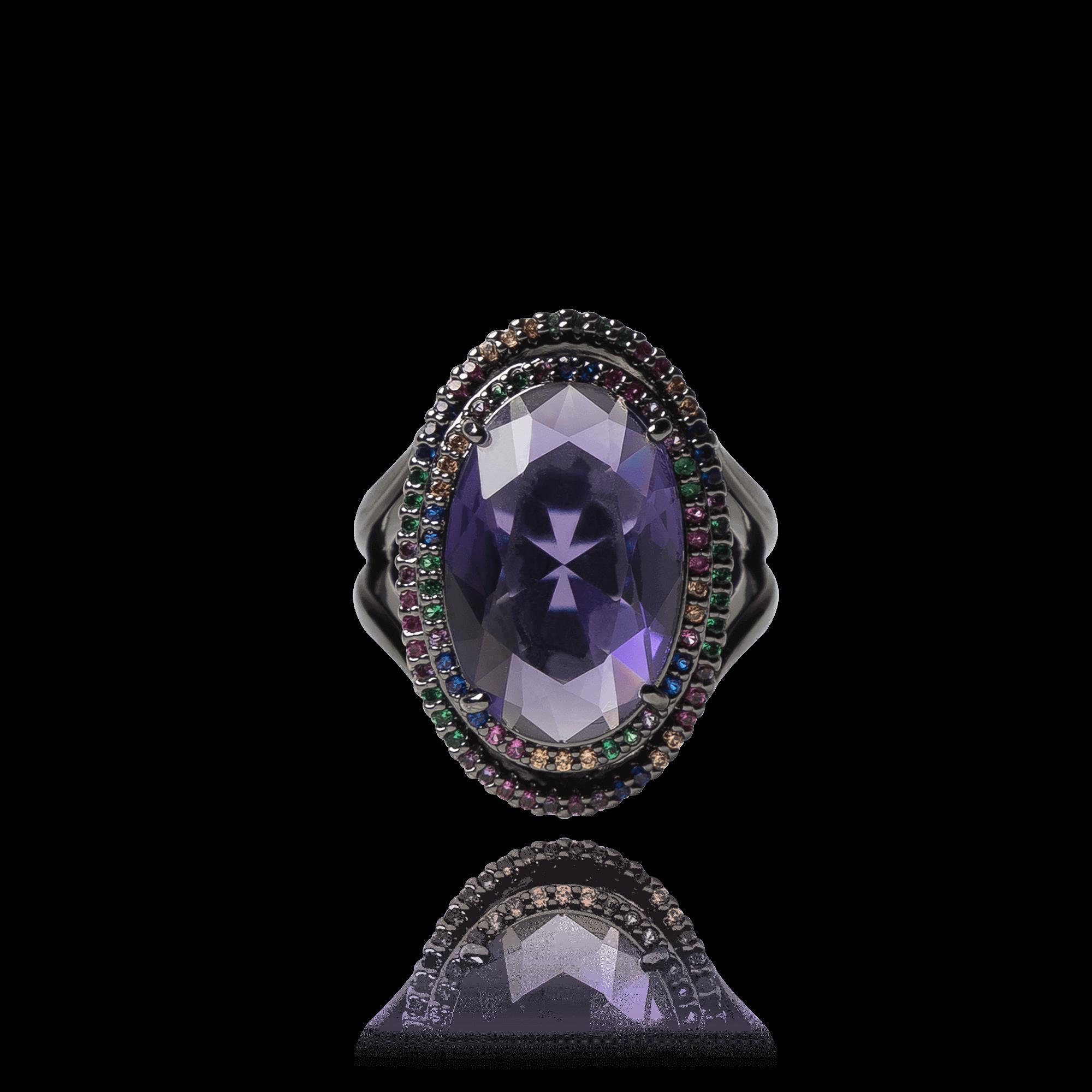 Anel Cristal Roxo com Zirconias Coloridas