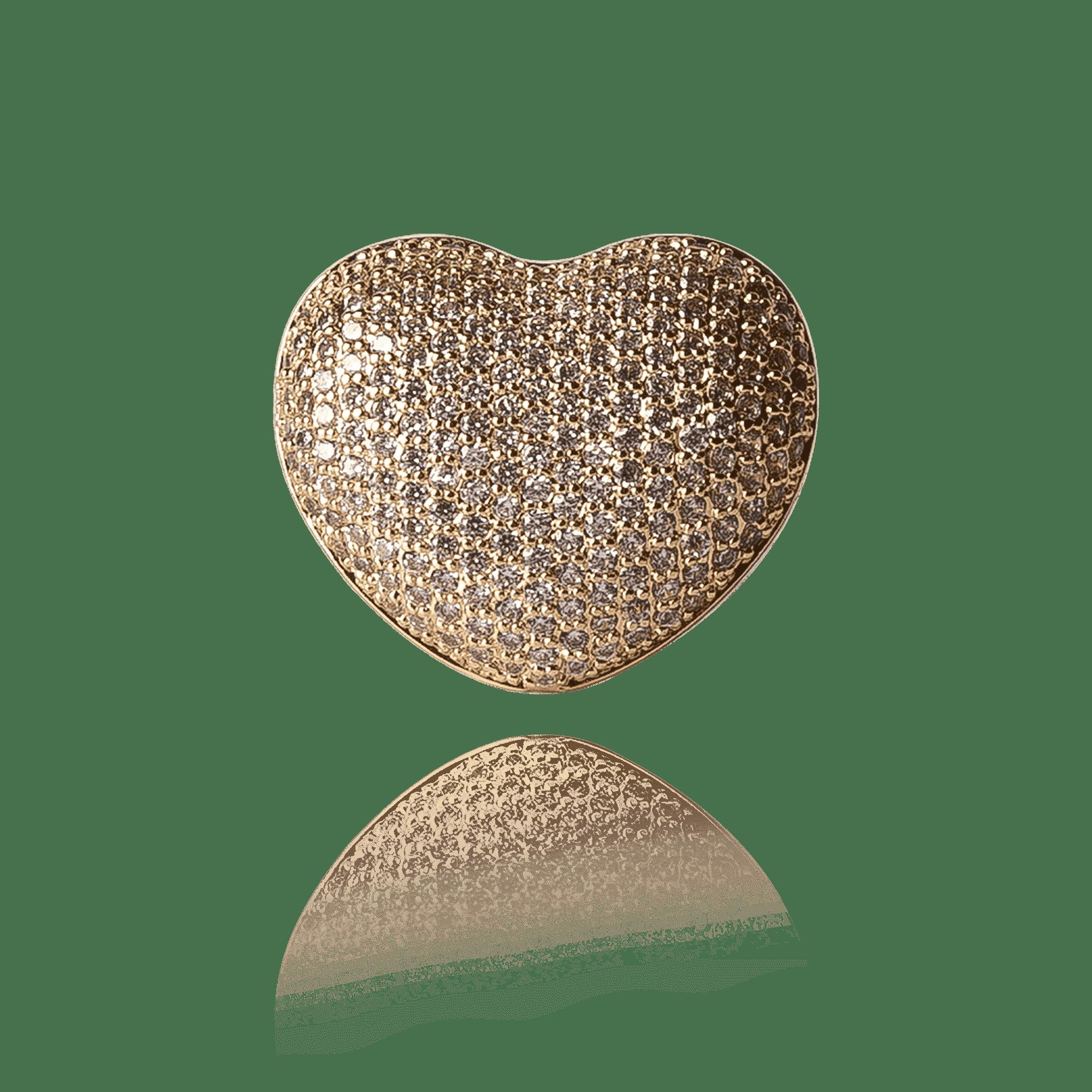 Anel Dourado Coração com Zircônias