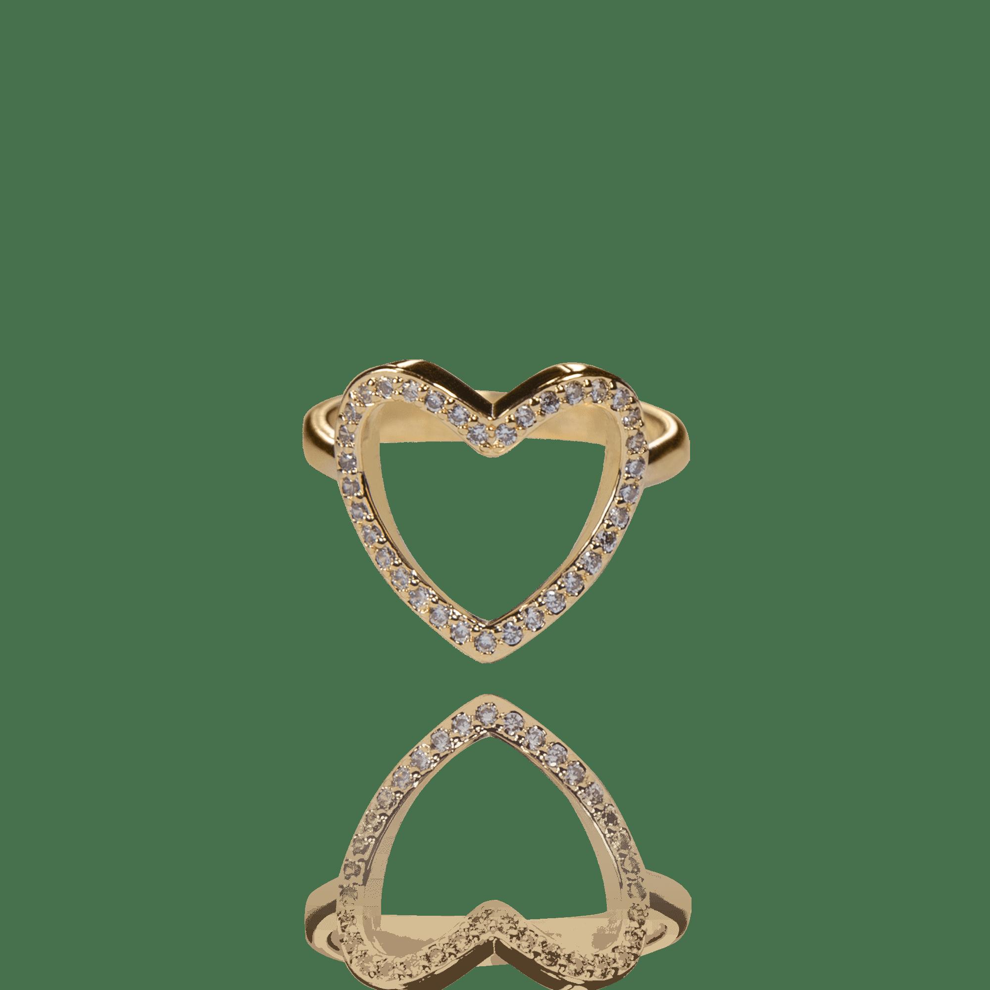Anel Dourado Coração Vazado com Zircônias