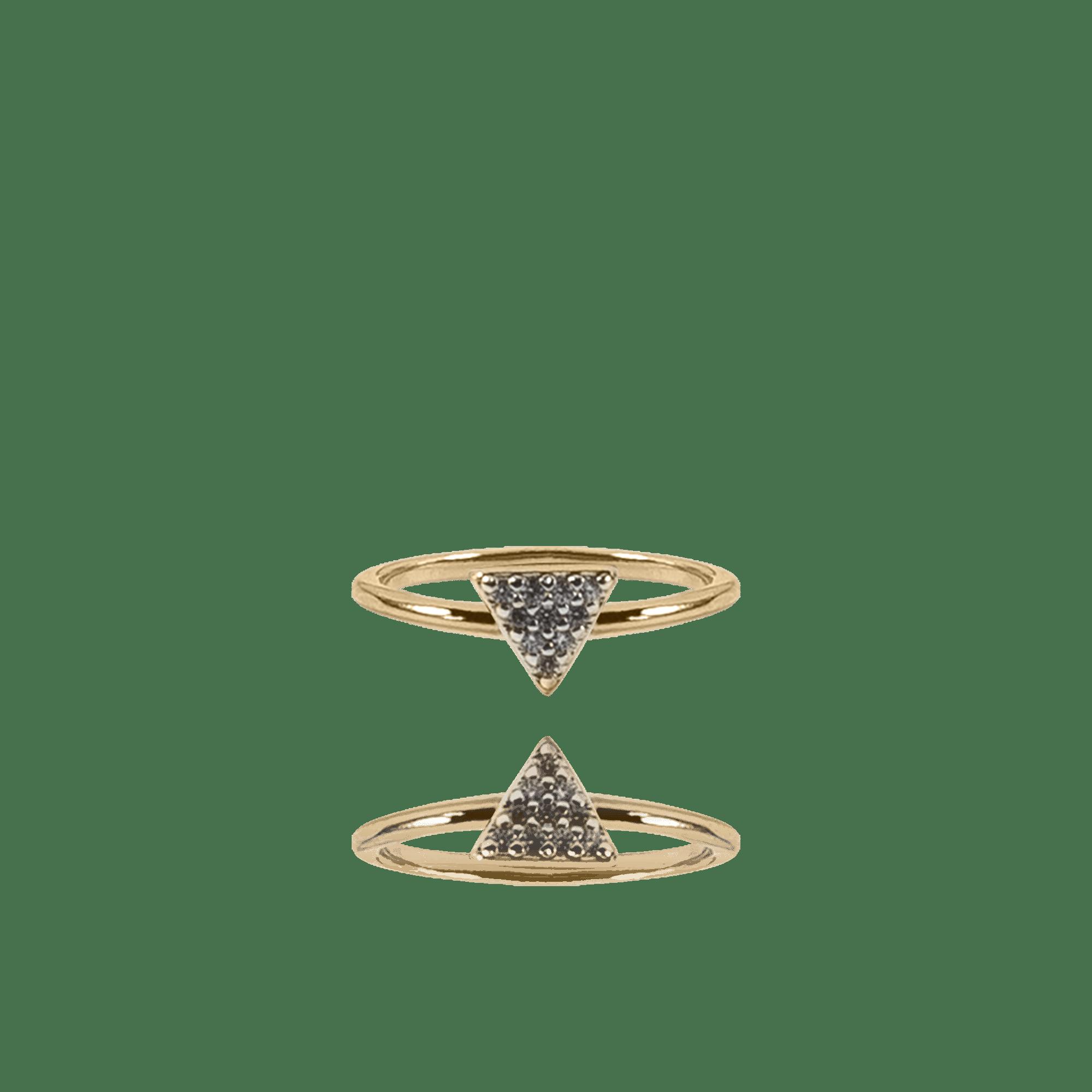Anel Dourado Slim Piramide com Zircônias