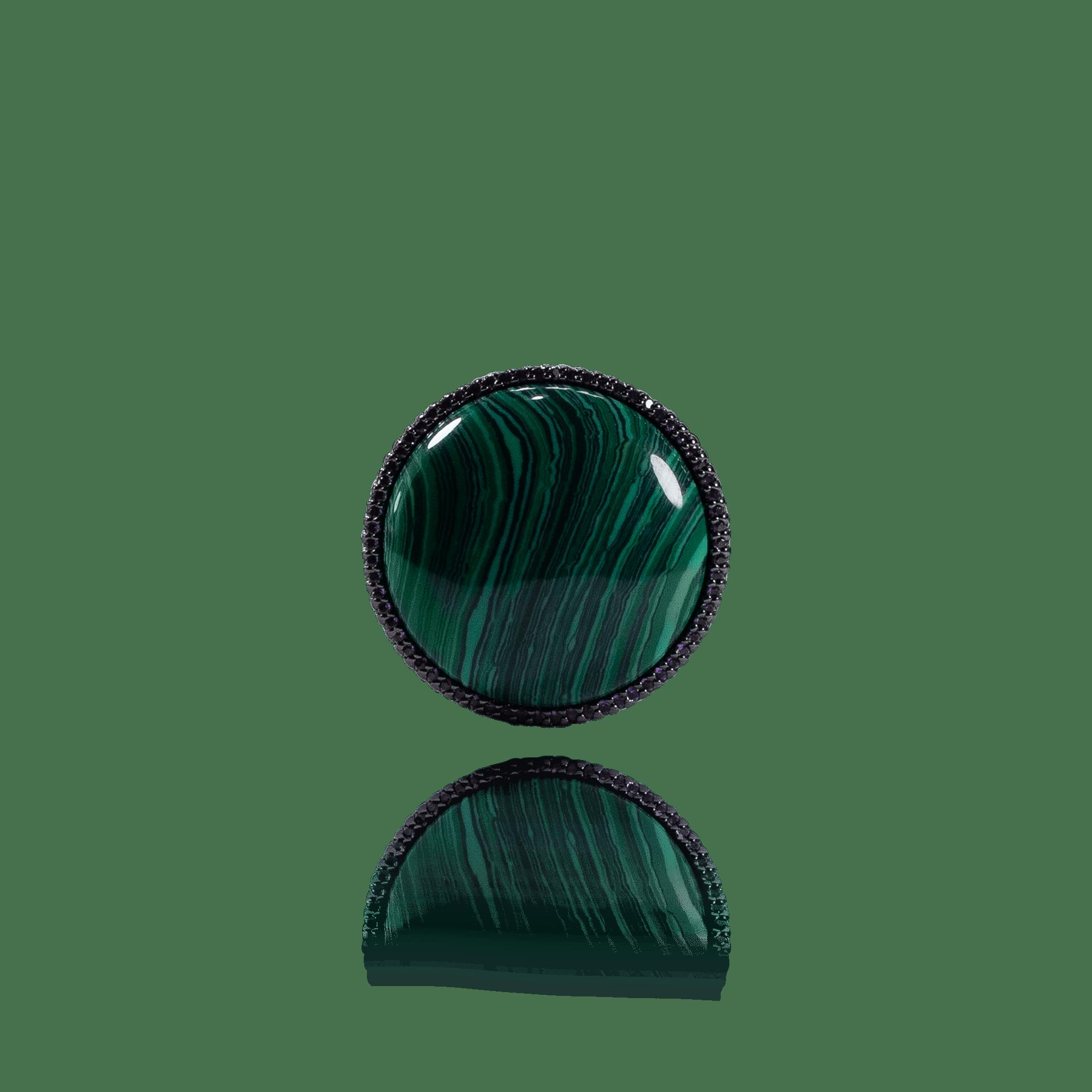 Anel Pedra Verde com Zircônias Roxas