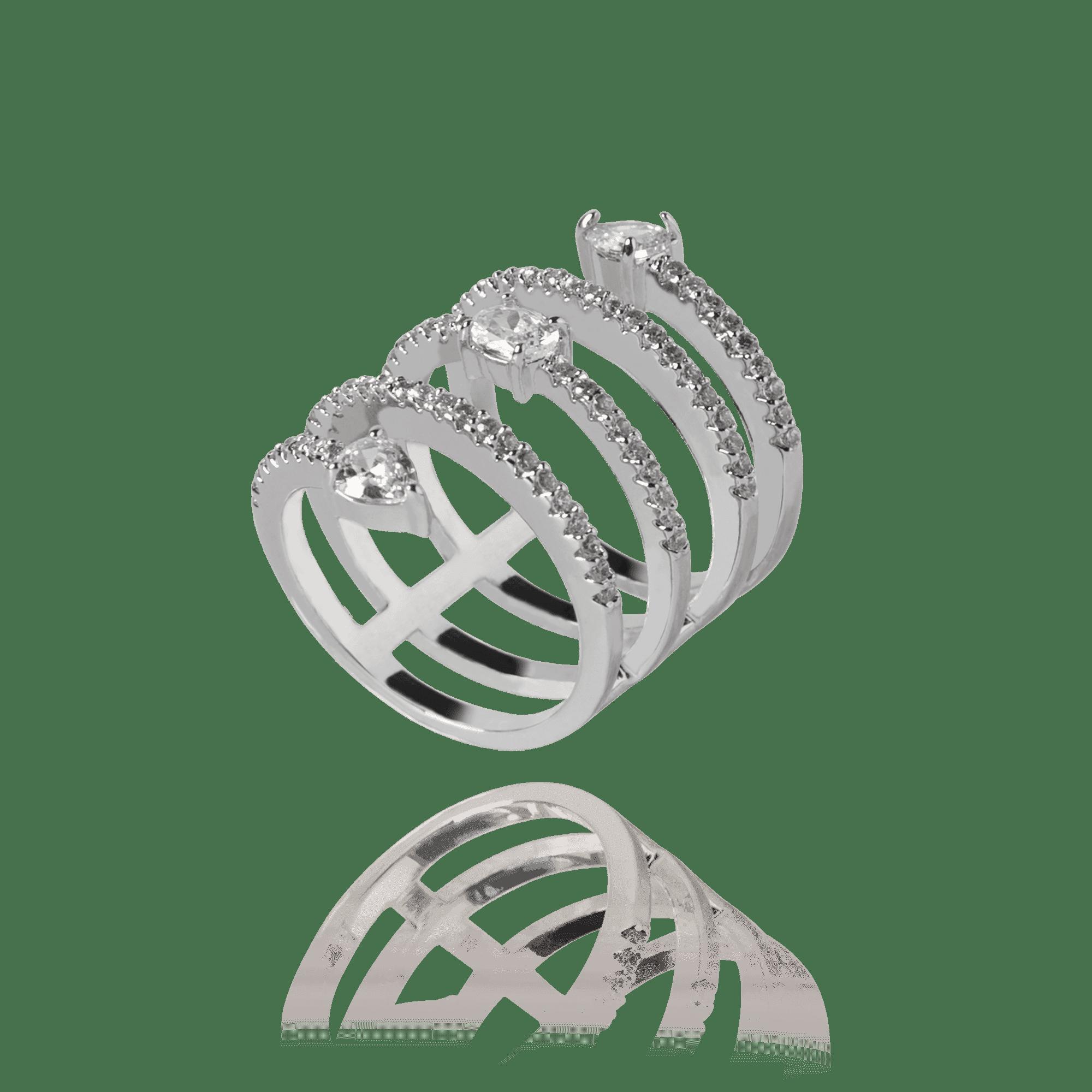 Anel Prateado Snake Cristais e Zircônias