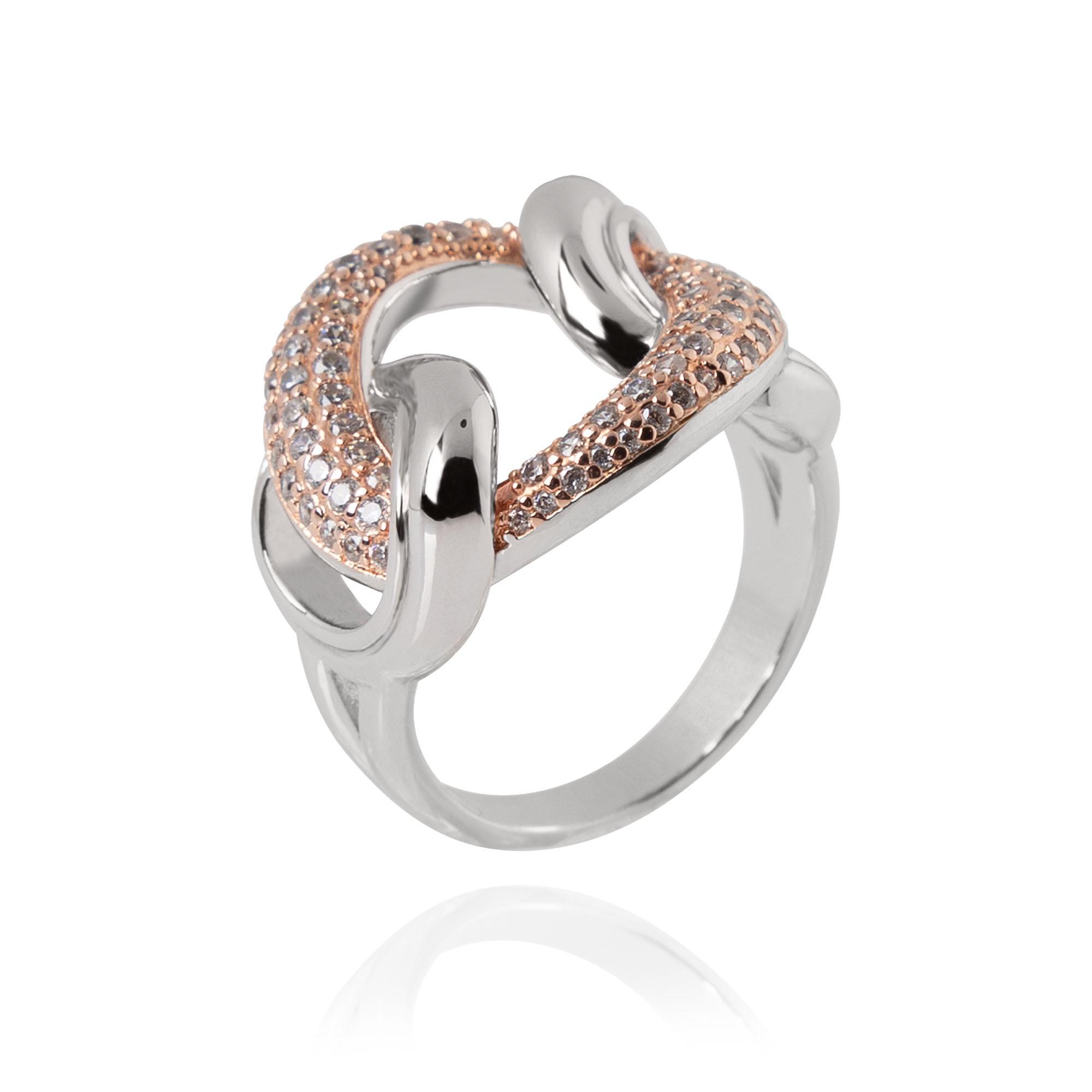 Anel Ródio Branco e Rosé Gold Inspiração Cartier