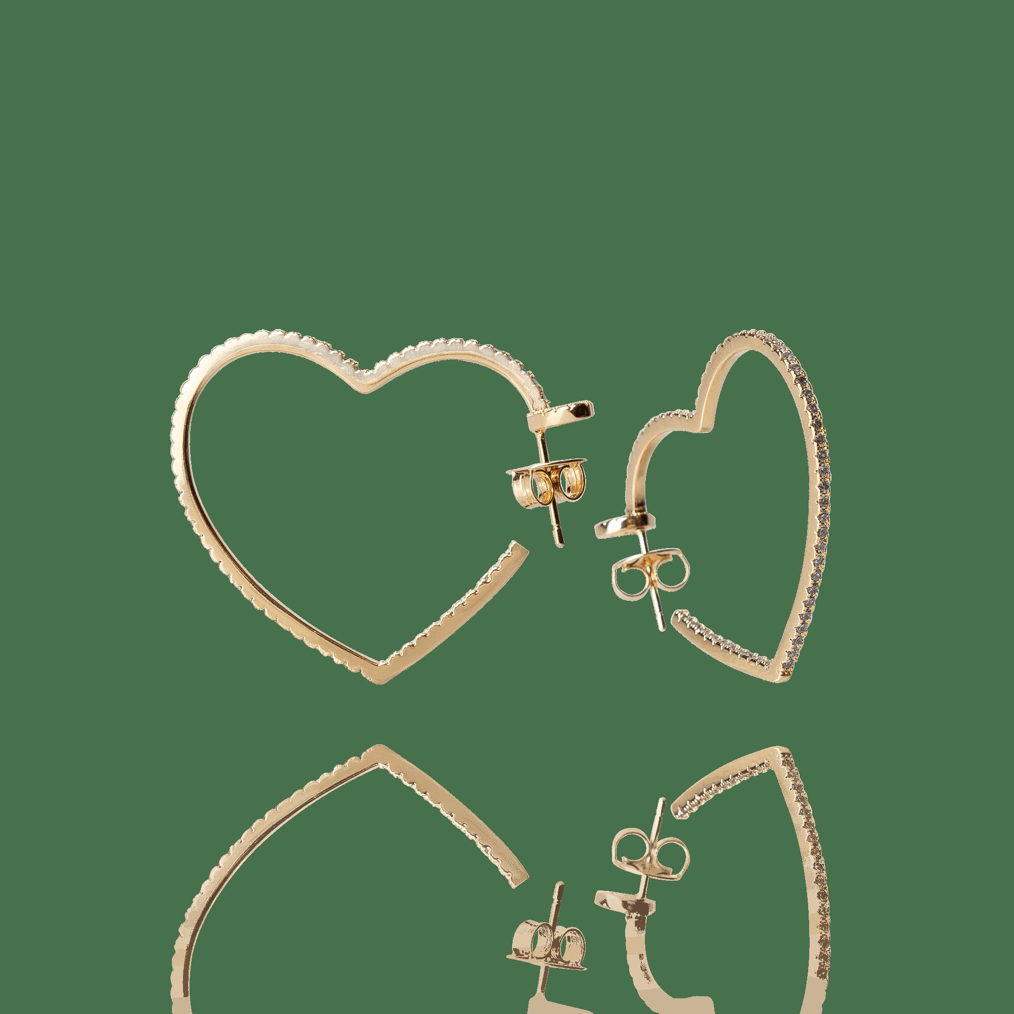 Brinco Argola Coração Dourado com Zircônias