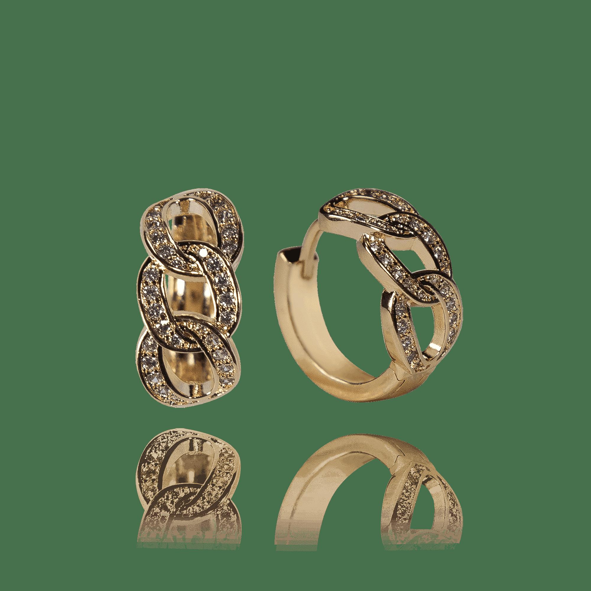 Brinco Argola Elos com Zircônias Inspiração Cartier