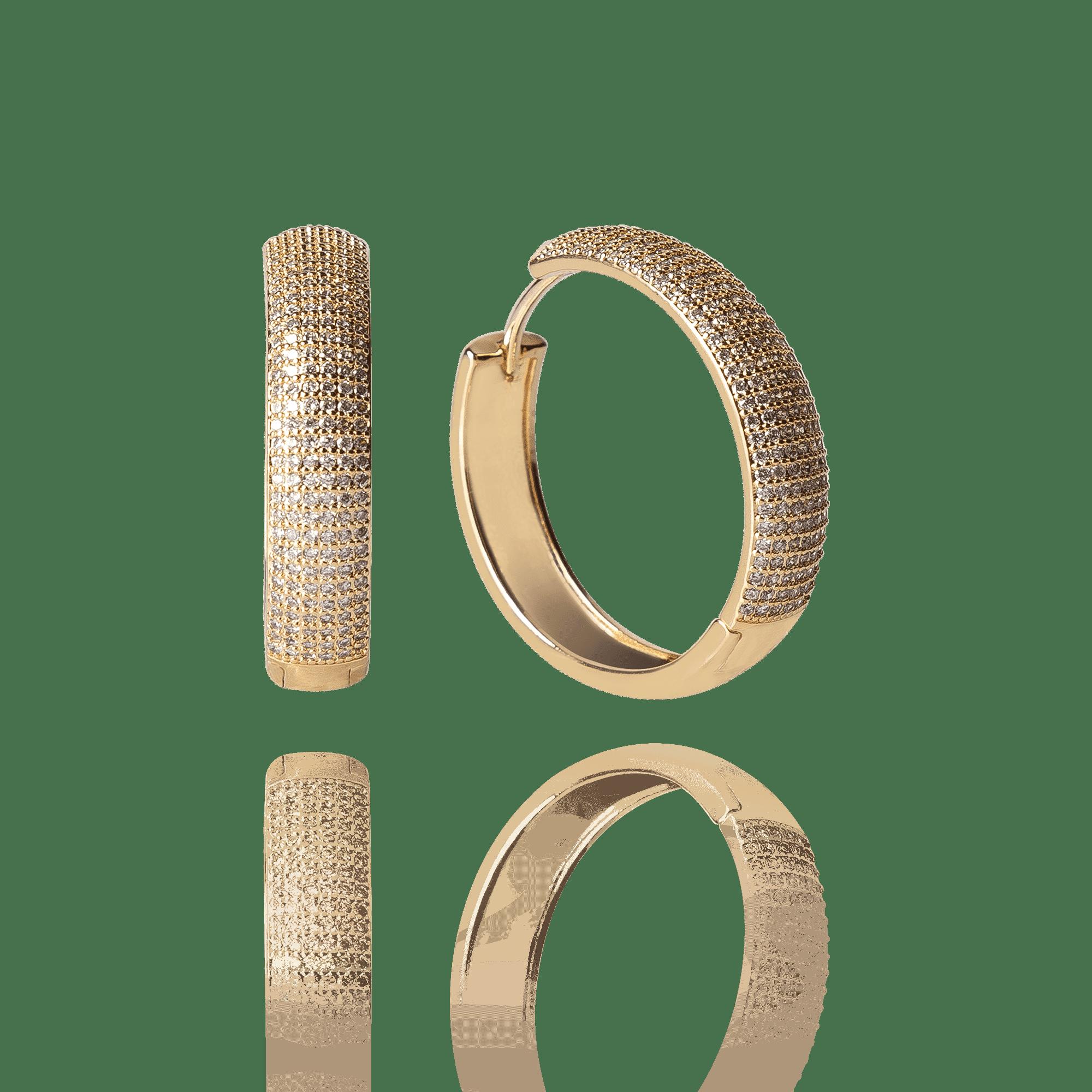 Brinco Argola Fechada Dourada com Zircônias