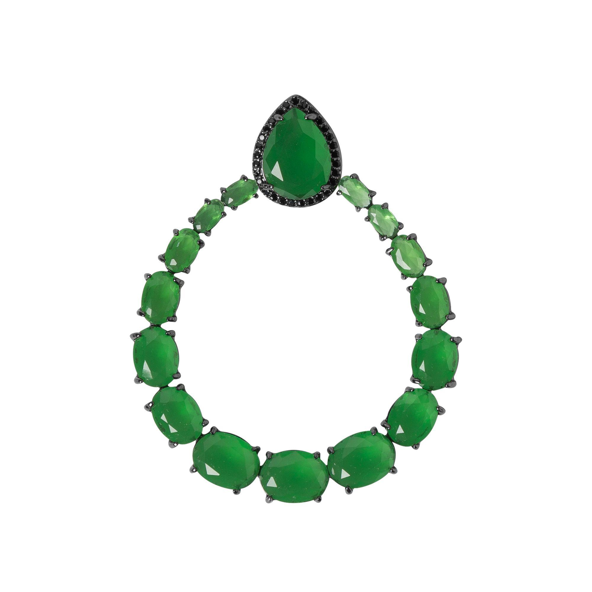 Brinco Argola  Pingente Turmalina Verde