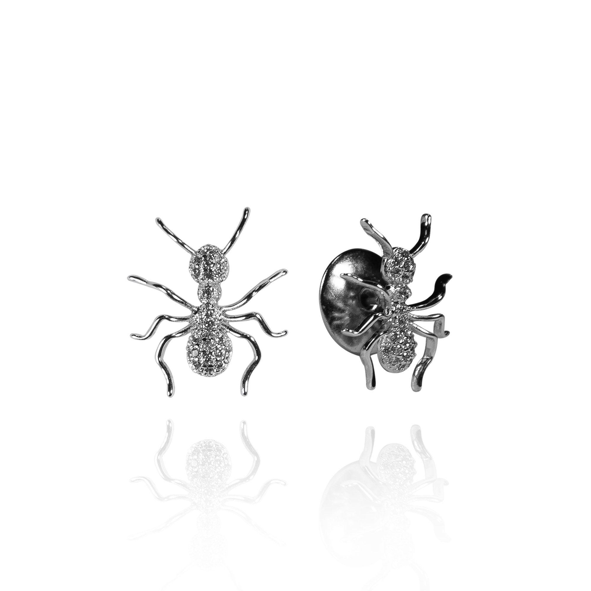Brinco Bug Ant Prateado com Zircônias