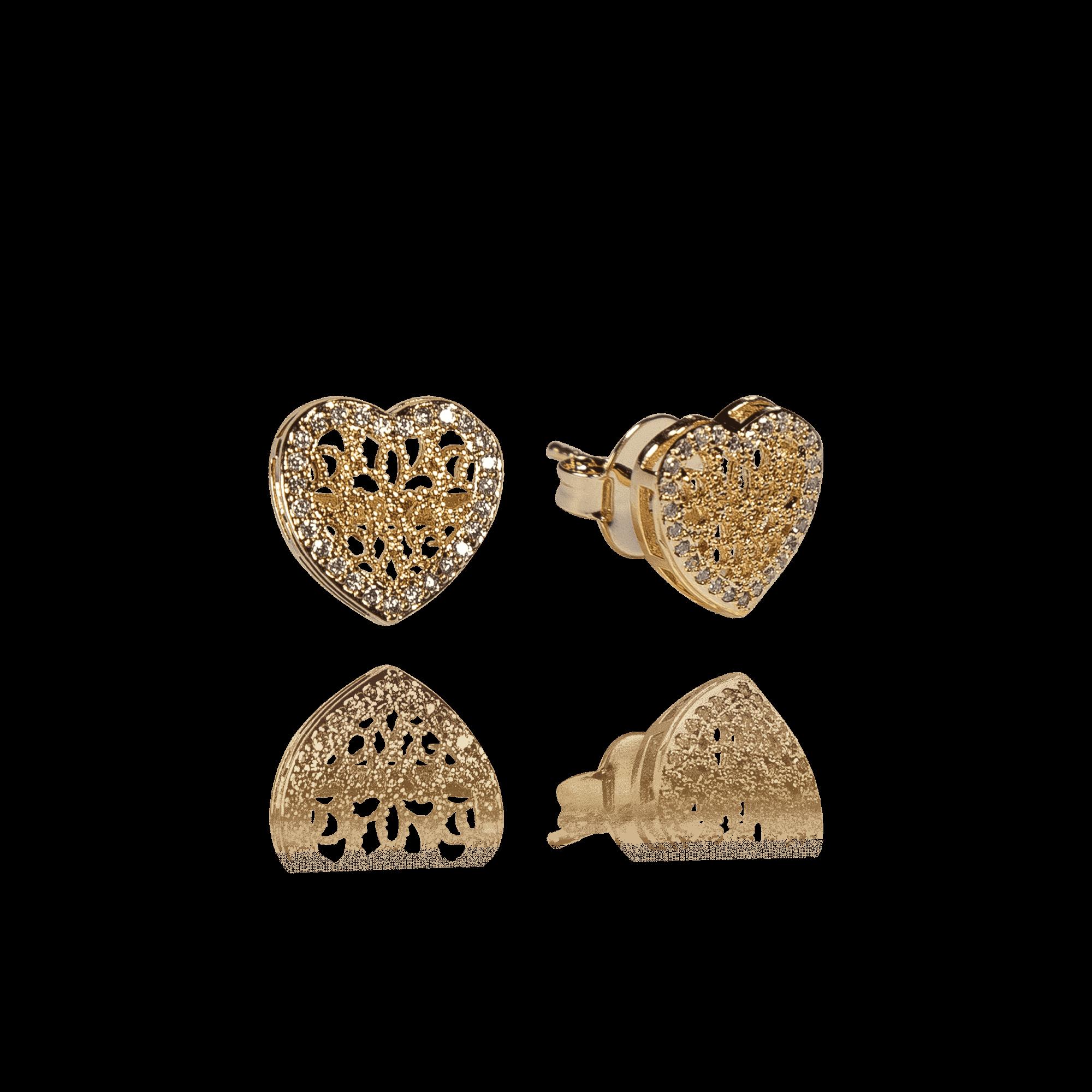 Brinco Coração Dourado com Zircônias