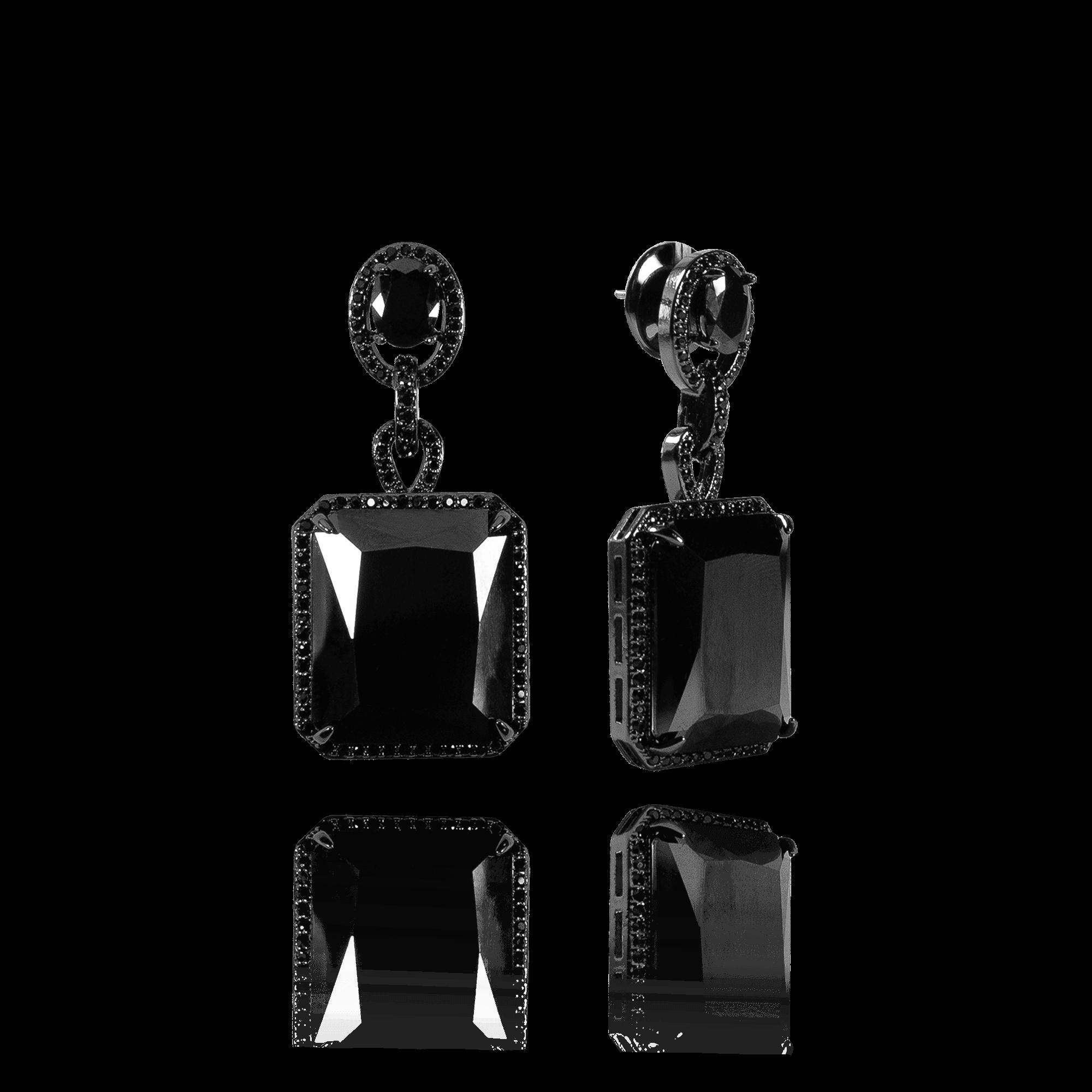 Brinco Cristal Negro com Zircônias
