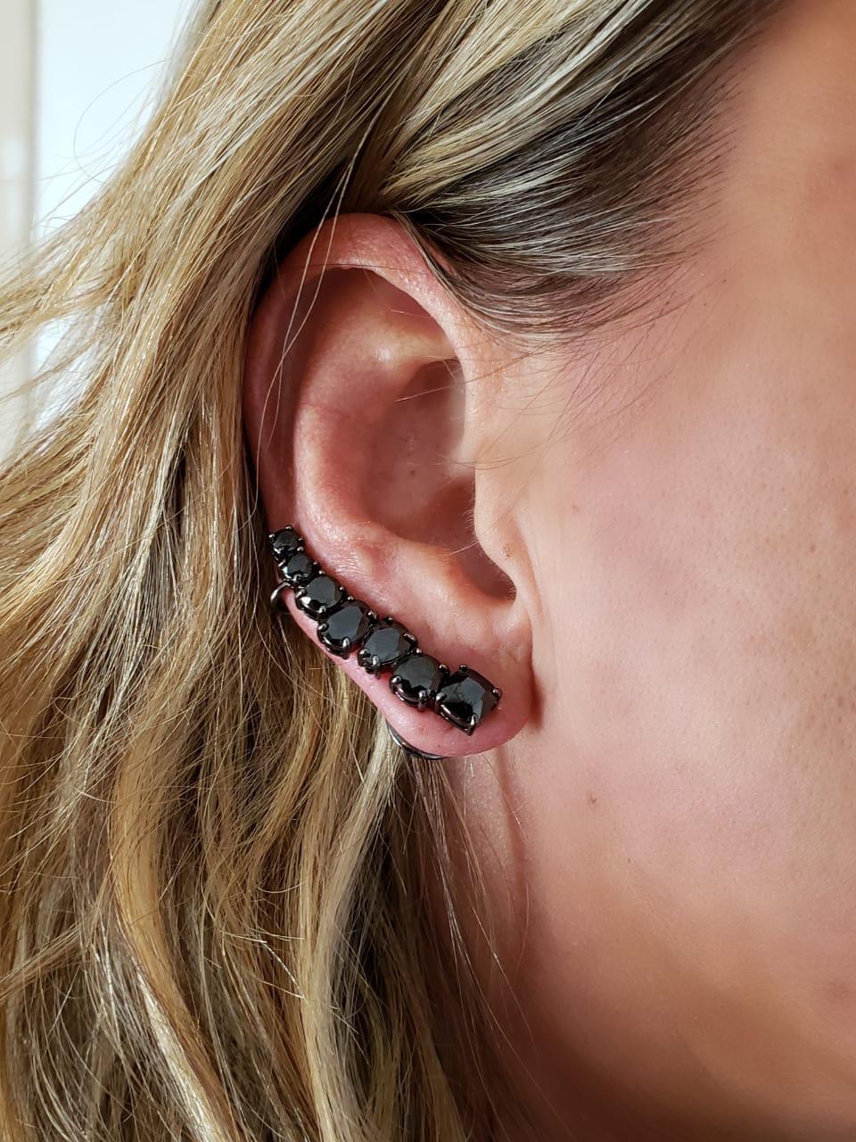 Brinco Ear Cuff Turmalina Negra