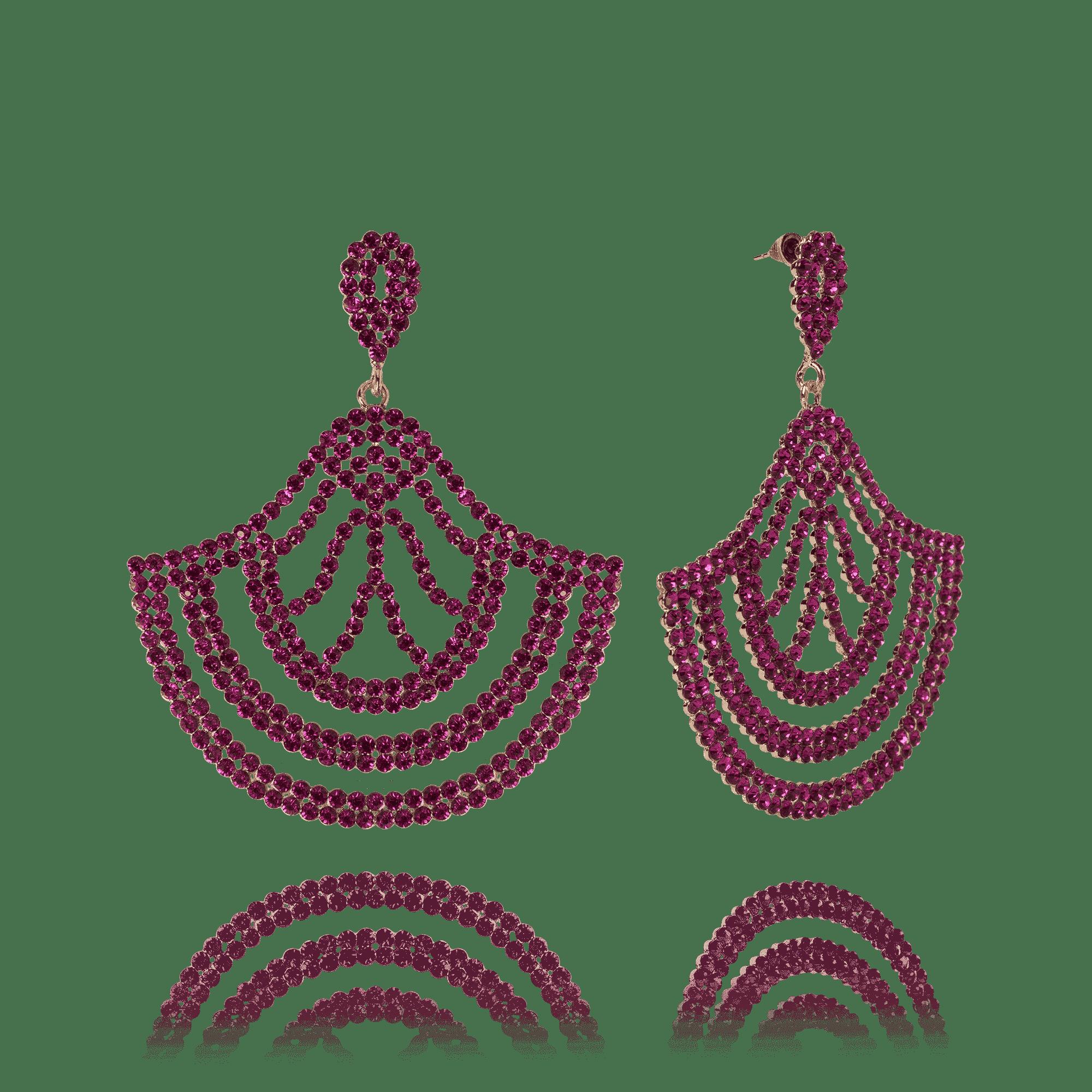 Brinco Festa Arabesco Leque Aberto Rosa