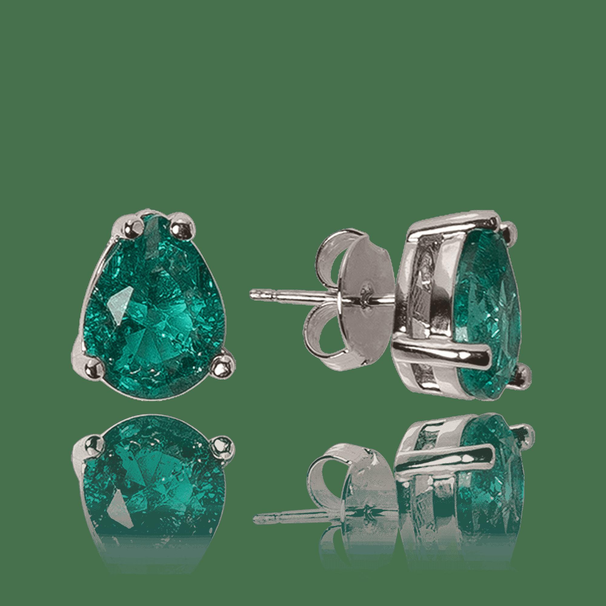 Brinco Gota Cristal Verde Turmalina
