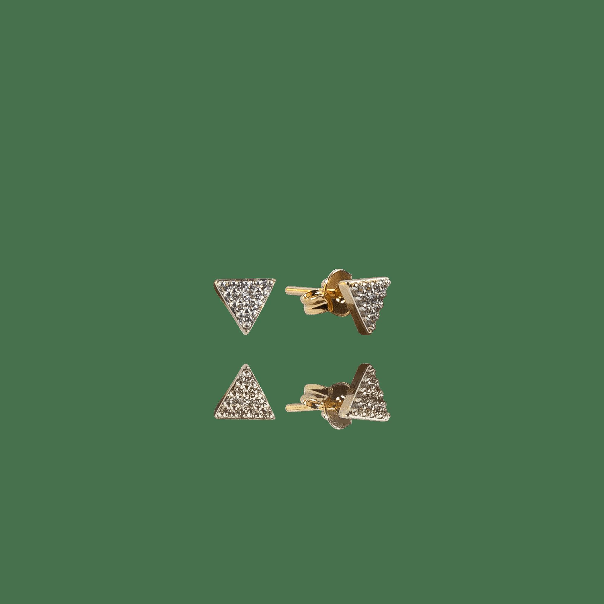 Brinco Dourado Pirâmide com Zircônias