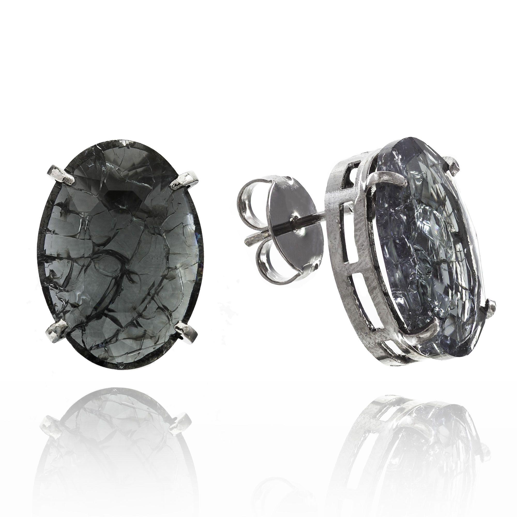 Brinco Oval Cristal Negro