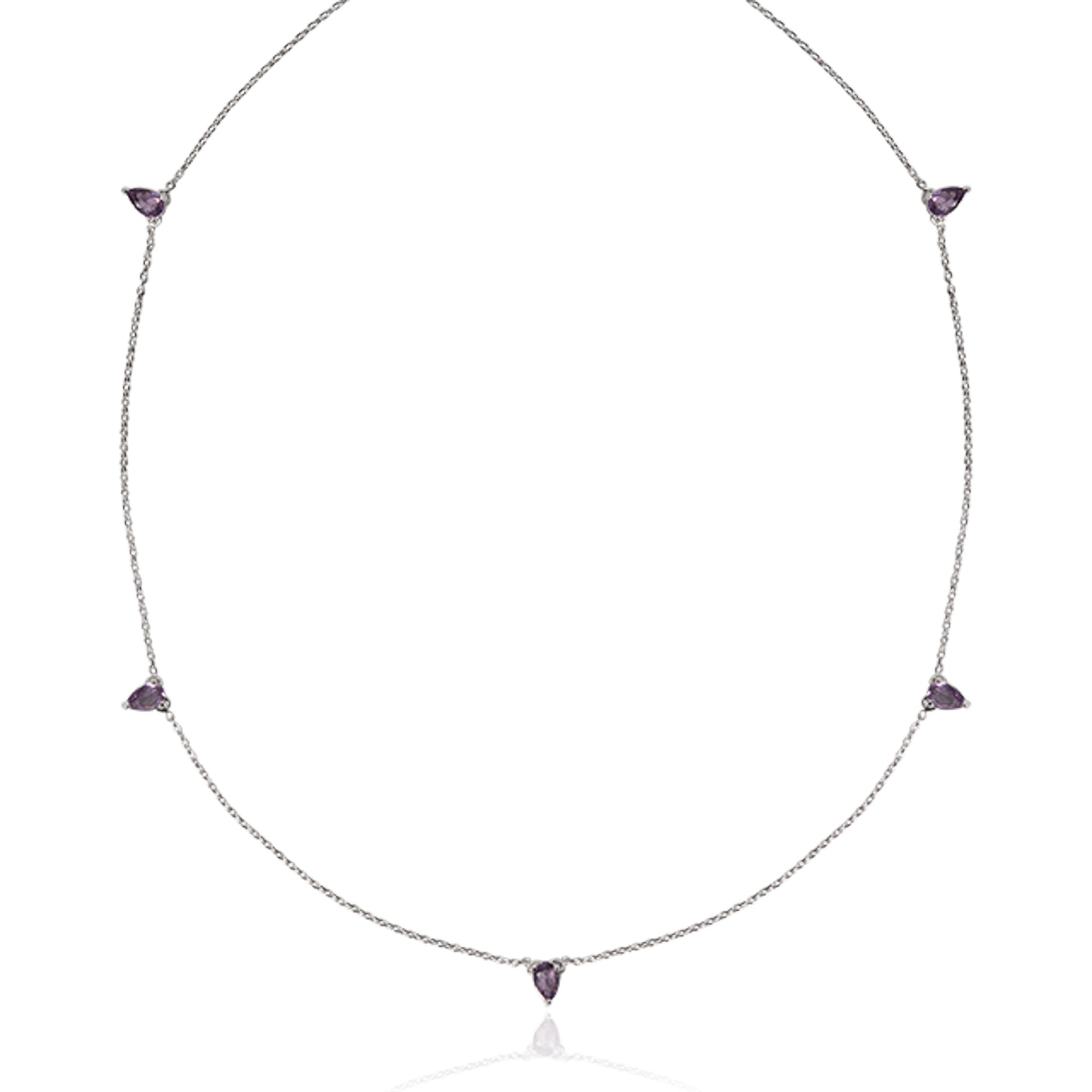 Colar Cinco Gotas Cristal Lilás