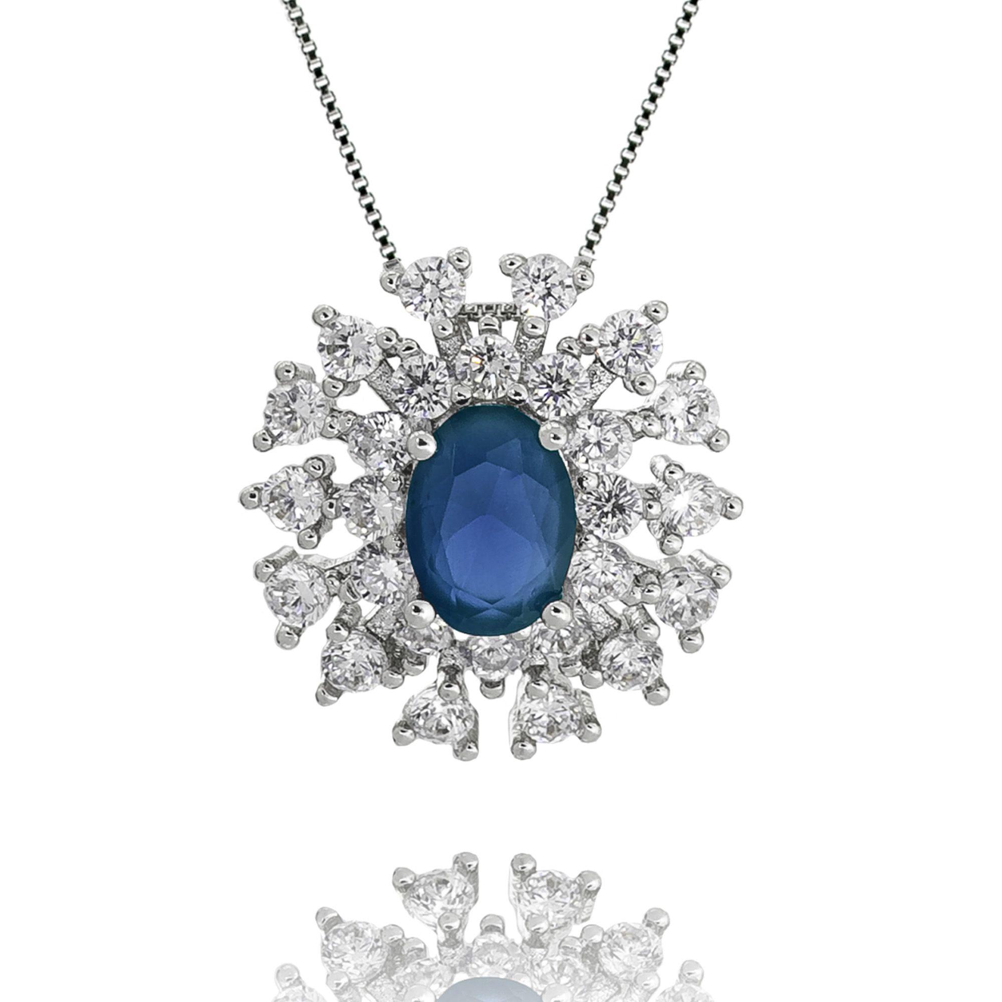 Colar Pingente Oval Cristal Azul e Zircônias