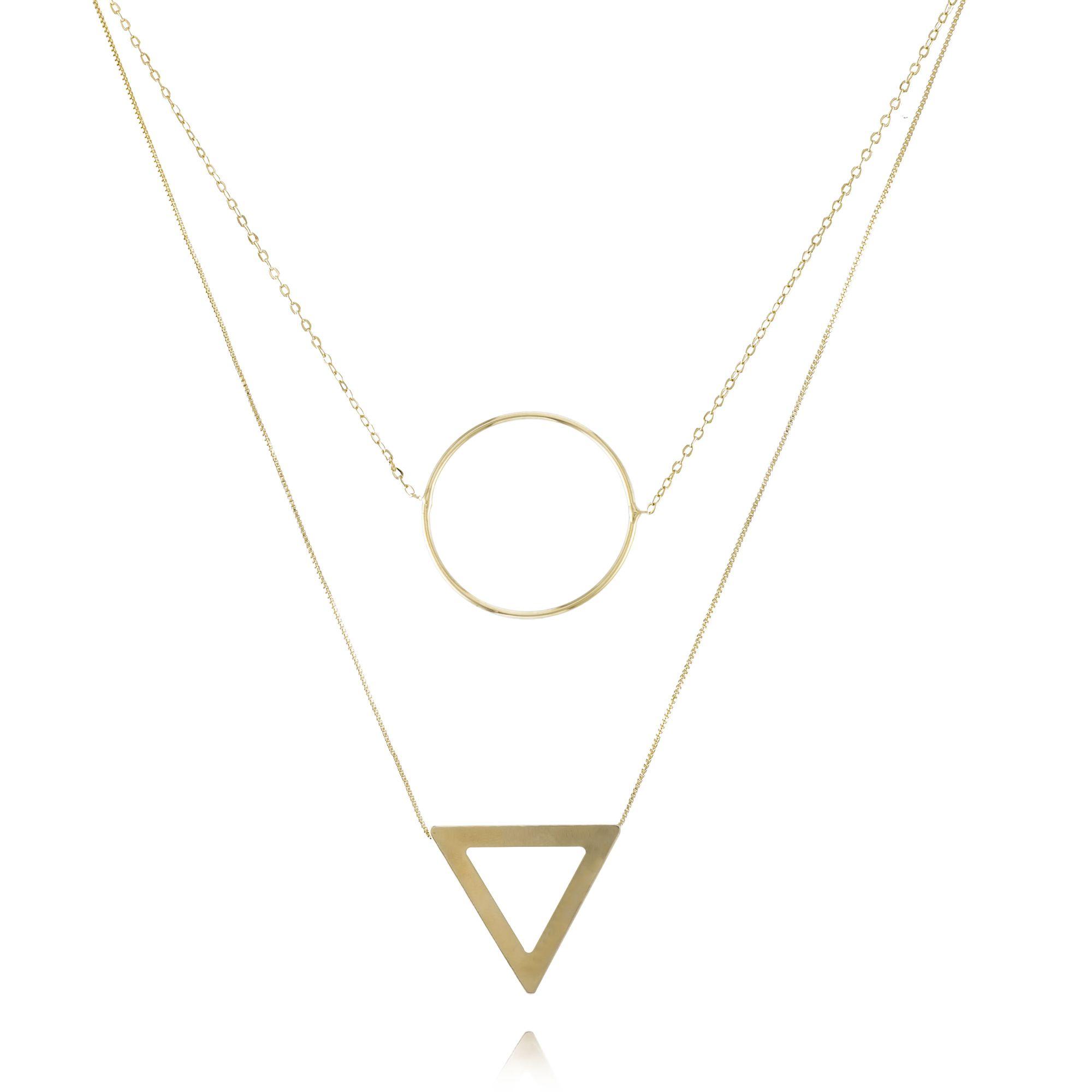 Colar Curto Duplo Dourado com Pingentes Círculo e Triangular