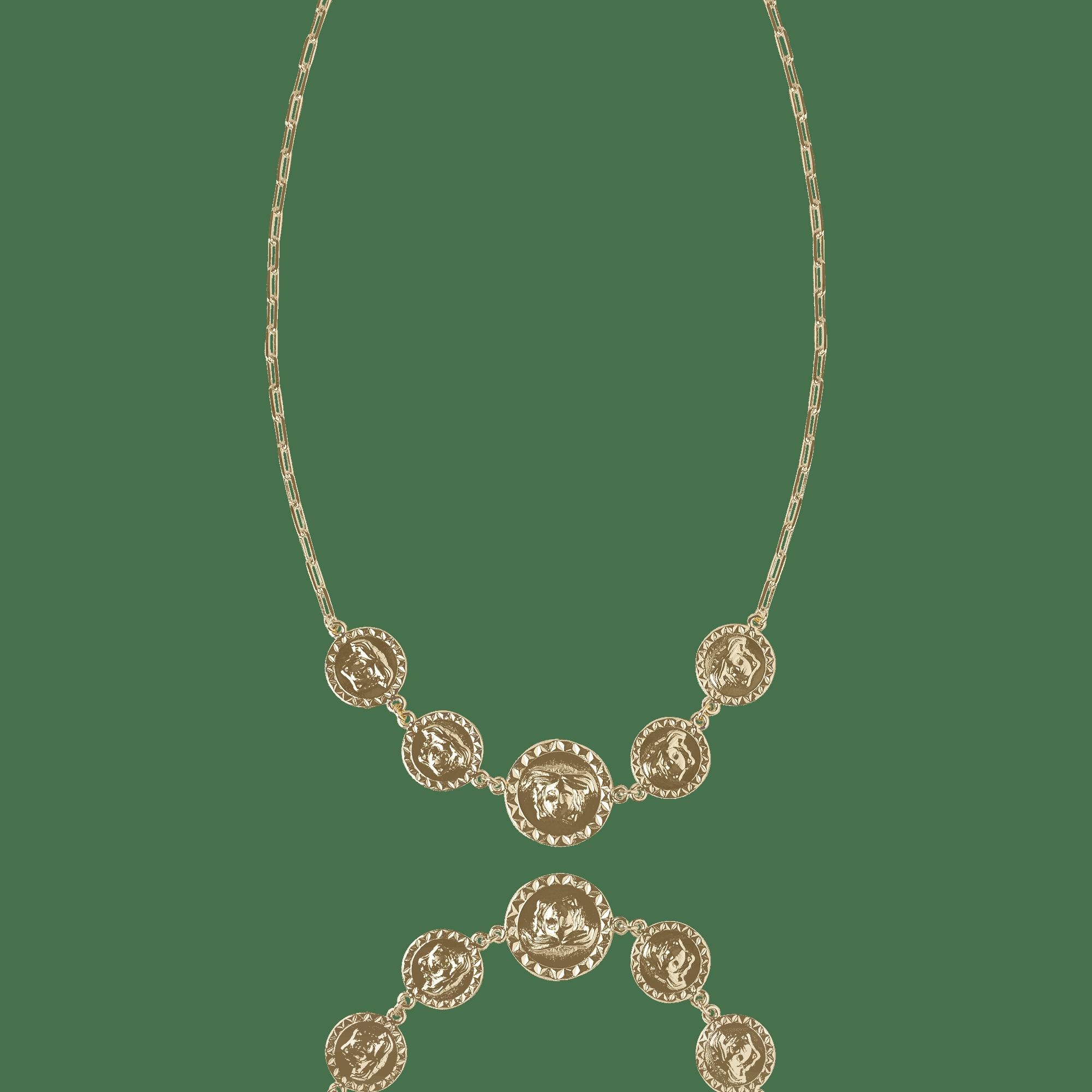 Colar Curto Inspiração Versace 5 Medalhas