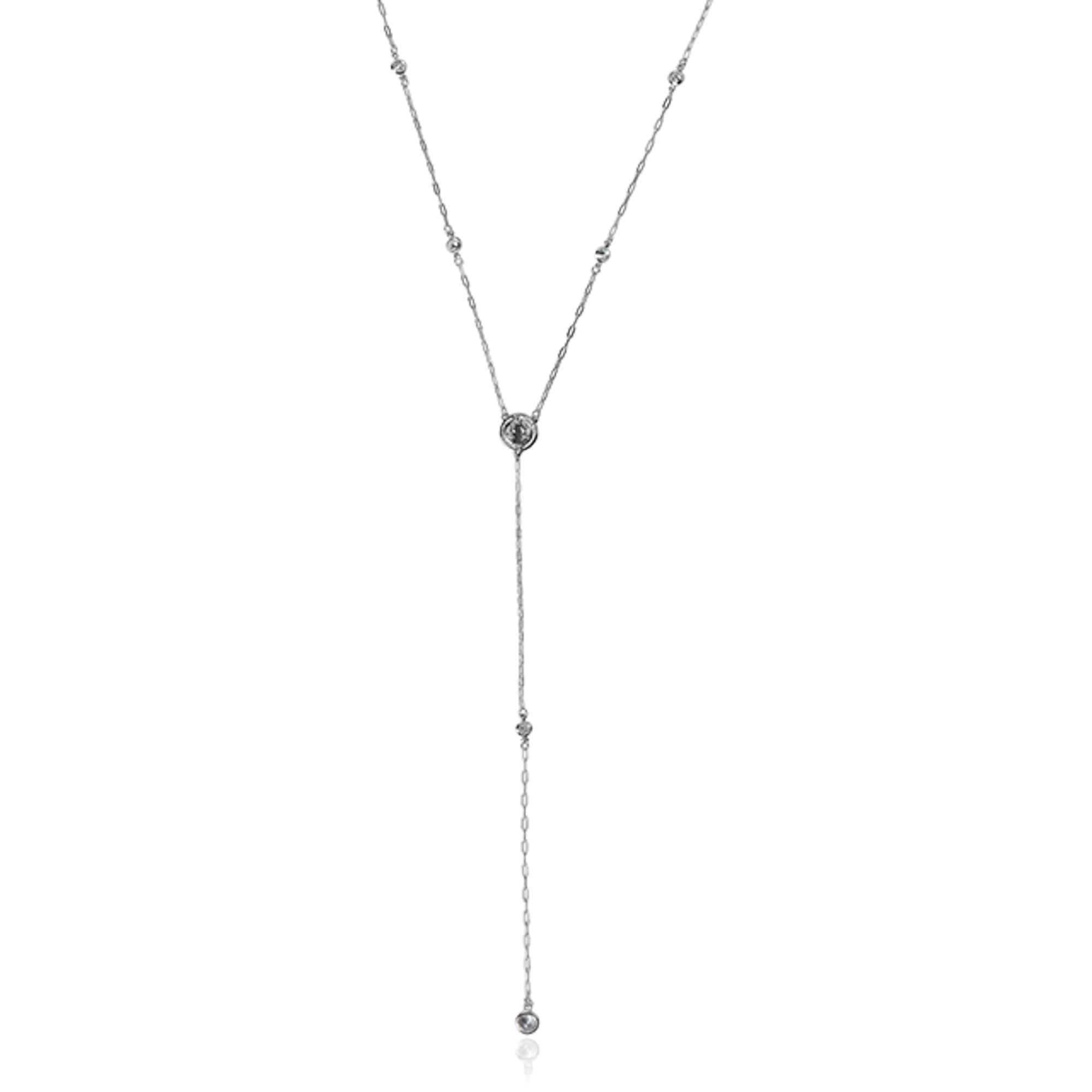 Colar Gravata Prata Inspiração Cartier com Cristais e Medalha